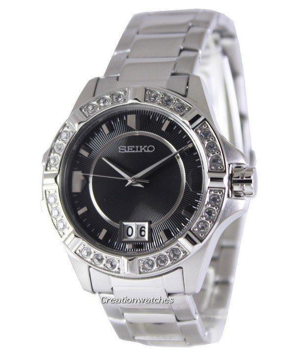 Seiko Quartz Crystals Black Dial Women's Silver Stainless Steel Strap Watch SUR807P1