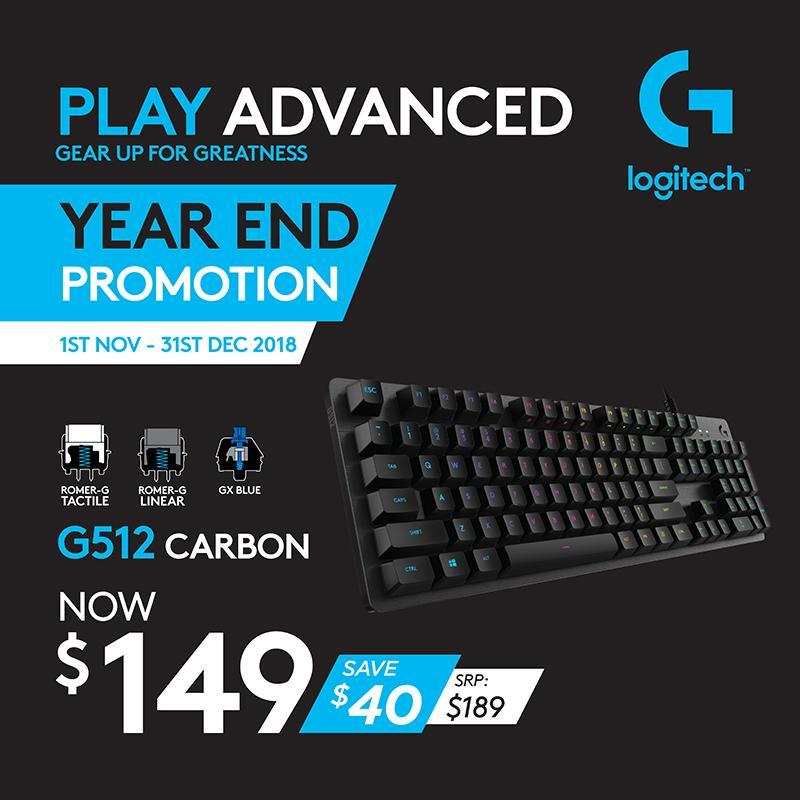 Logitech G512 GX-Blue Clicky Carbon RGB Mechanical Gaming Keyboard #GamingYearEnd2018Promo Singapore