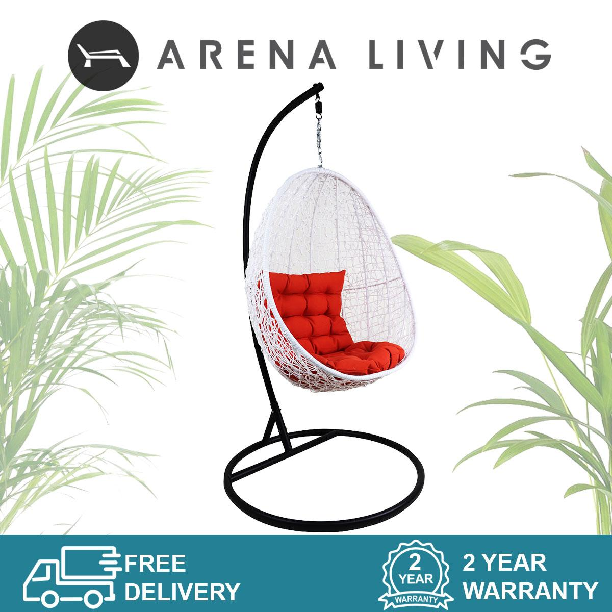 White Cocoon Swing Chair Orange Cushion, Outdoor Furniture by Arena Living