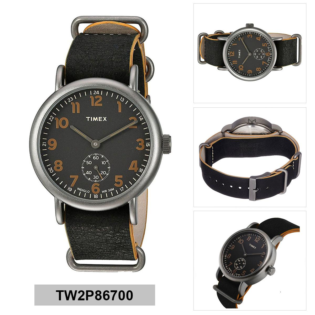 Timex Weekender Black Stainless-Steel Case Leather Strap Mens TW2P86700 2e5342e365