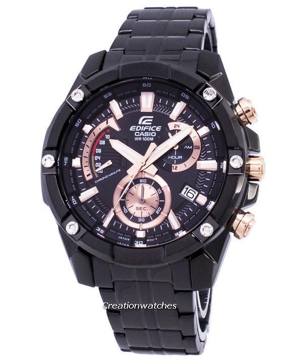 Casio Edifice Chronograph Quartz Men's Black Stainless Steel Deployment Clasp Watch EFR-559DC-1AV