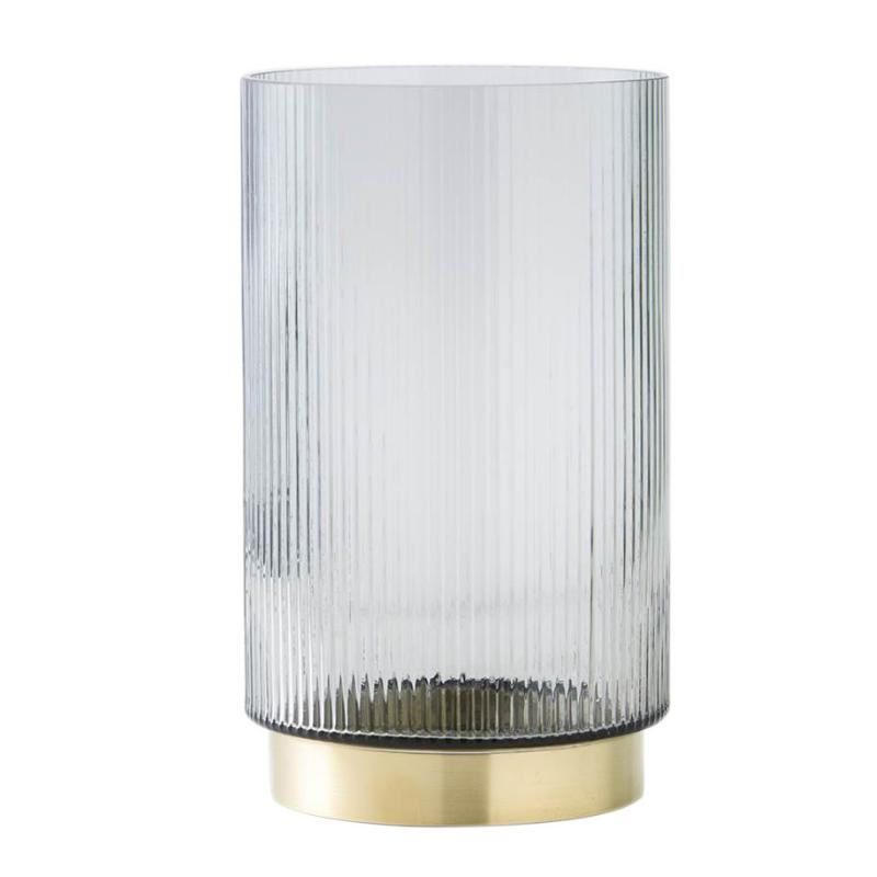Ribbed glass vase with brass - Large