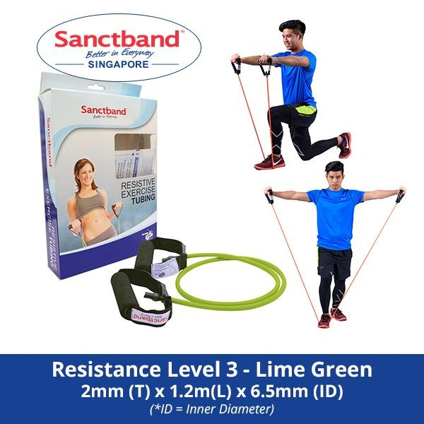 Sanctband Resistance Exercise Tubing With Handles Resistance Level 3 Lime Green Compare Prices
