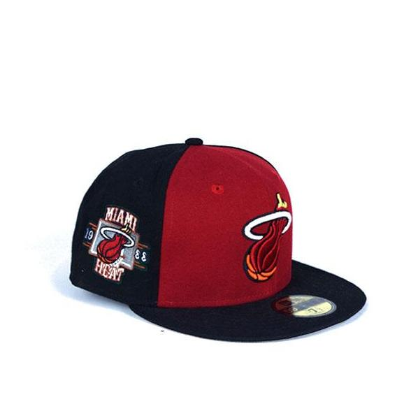 db07643a84739 New Era Miami Heat Logo 59FIFTY Red Black White Fitted cap 8065 BB1