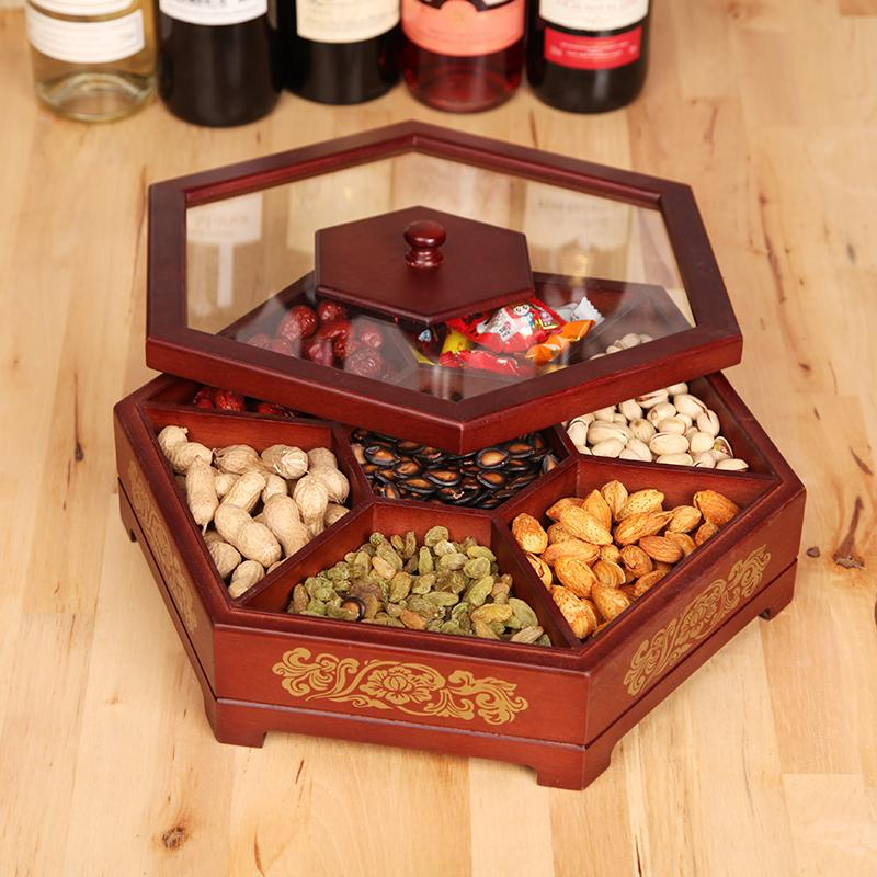 Only Love Solid Wood Candy Box Melon Seeds Plate New Year Dried Fruit Tray hun qing pin Creative Environmentally Friendly Snacks Snack Candy Box