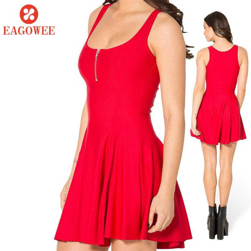 Coupon Eagowee Eagowee Women Sleeveless Pockets Casual Swing T Shirt Dresses Solid Bodycon Dress Bandage Spaghetti Strap Club Party Mini Dress Women Sleeveless Vest O Collar Zipper Dress