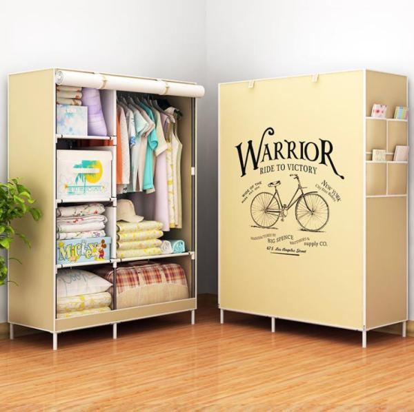 3D Painting Wardrobe Non-woven Fabric wardrobe storage closet hanging wardrobe reinforcement combination steel