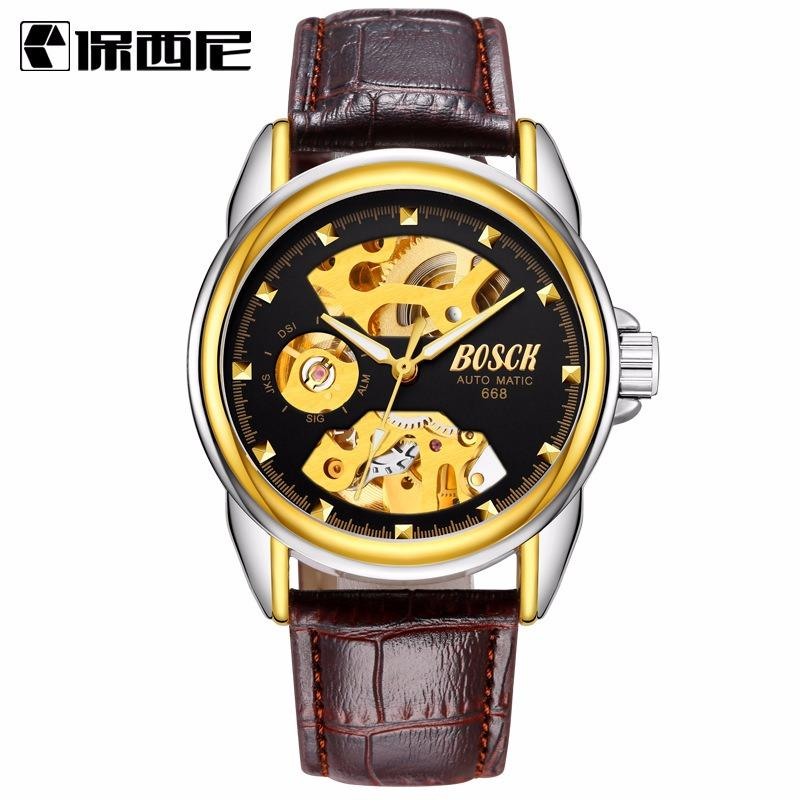 men analog gold wear leather watch belt strap s wrist for index watches brown case mens transparent