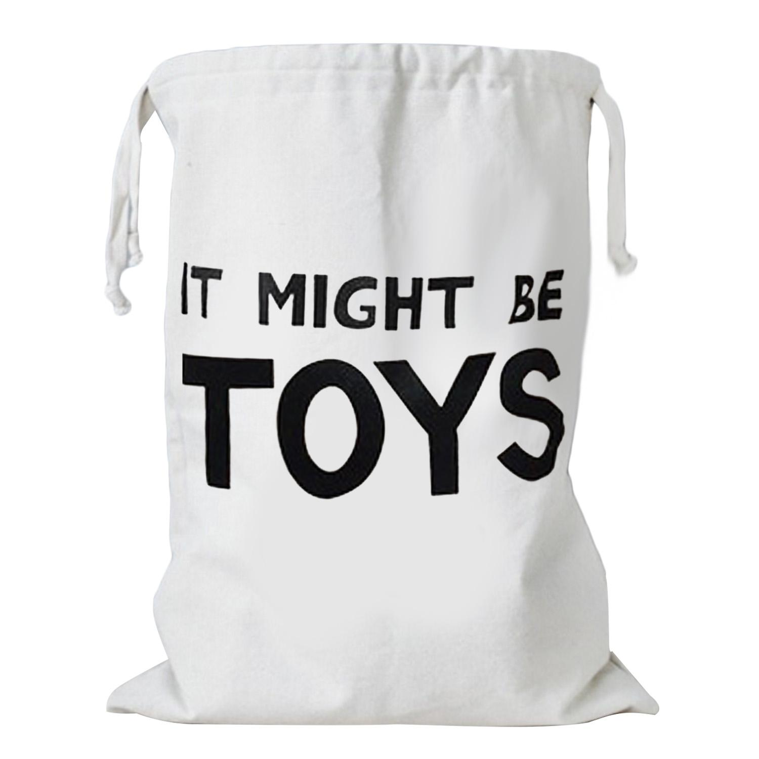 Fashion Cute Cartoon Canvas Drawstring Storage Bag Kids Toys Clothing Books Laundry Bag Organizer Basket For Children Room Nursery Home Decor English Word Style By Duha.