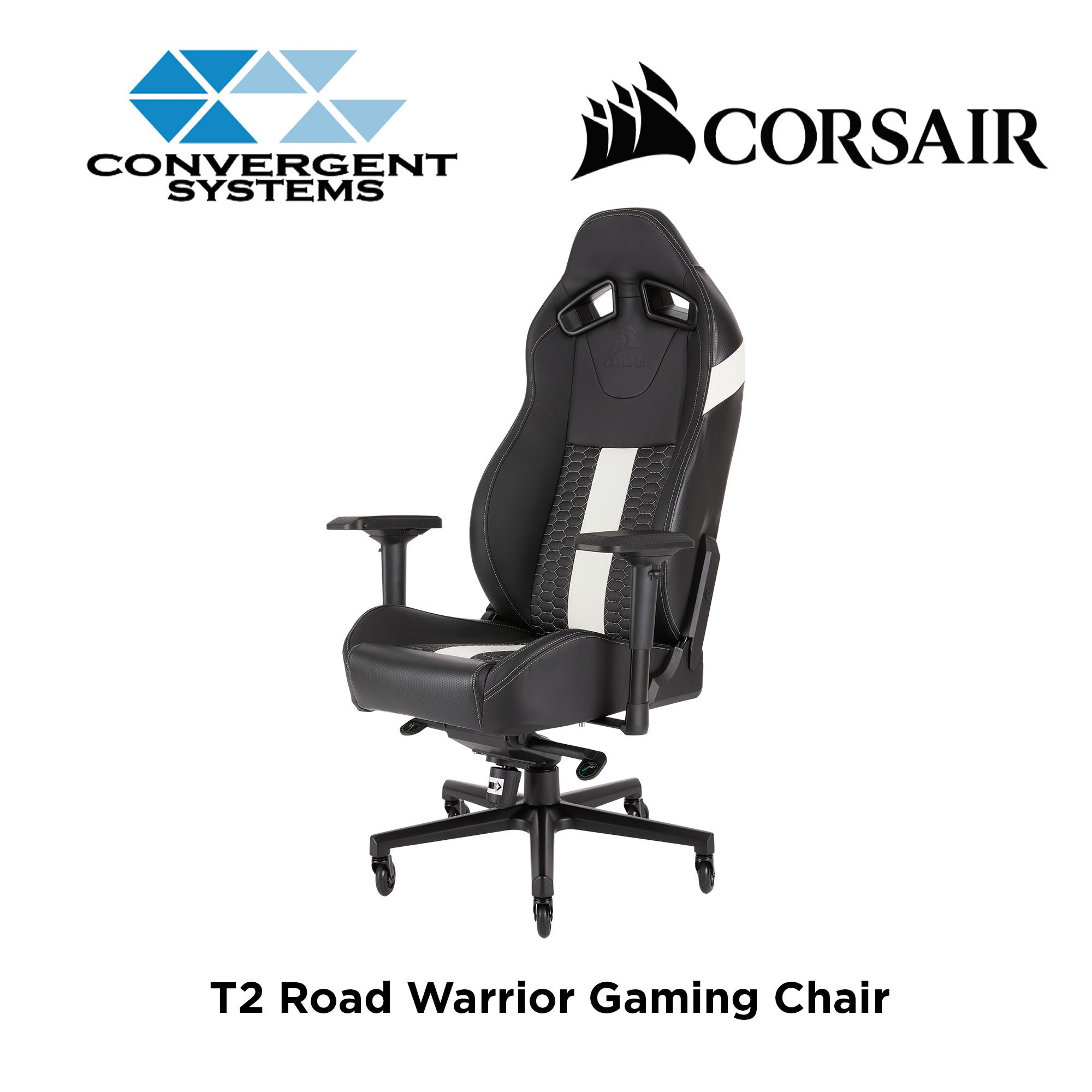 Corsair T2 Road Warrior Gaming Chair - Black / White Stripes