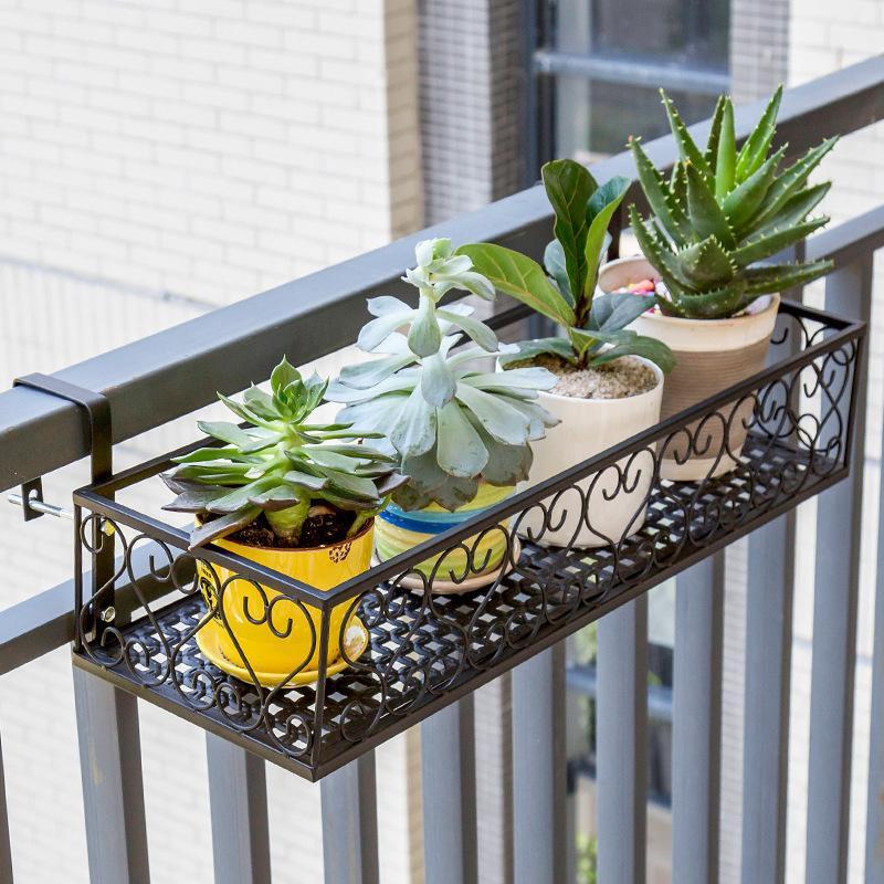 European Style Terrace/Patio Pergola Iron Handrail Multilayer Hanging Flowerpot Shelf Wall Hangers Epipremnum Aureum Succulent Pergola