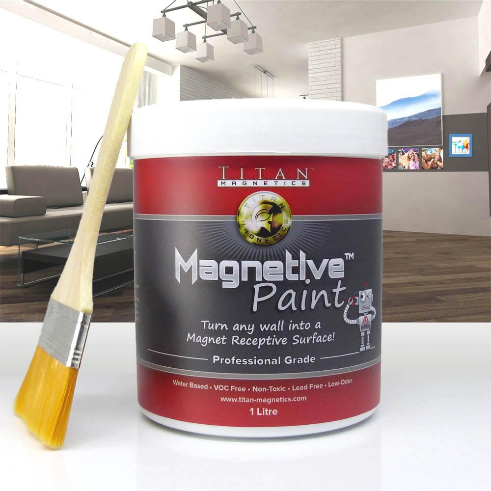 Magnetic Paint 1 Litre - Turn Plain Walls To Magnetic Feature Wall - Fun And Easy To Decorate With Magnets! By Titan Magnetics.