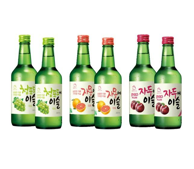 Jinro Flavored Soju 6 Bottle Set (2 X Green Grape, 2 X Grapefruit, 2 X Plum) By Geonbae.