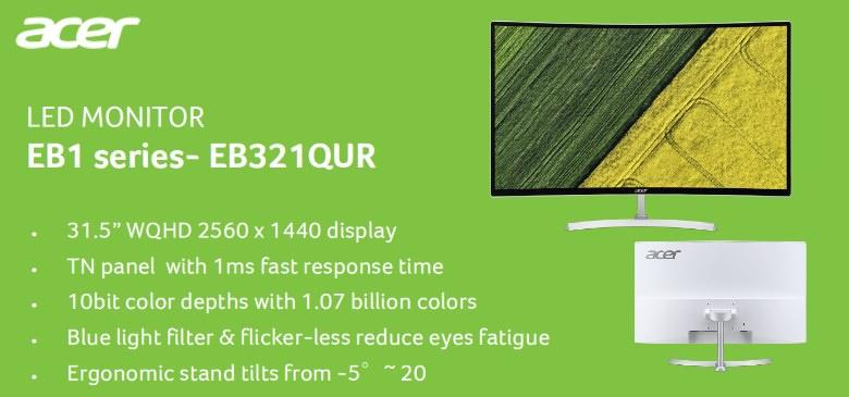 Acer EB321QUR 31 5-Inch Wide QHD Curved Monitor Singapore