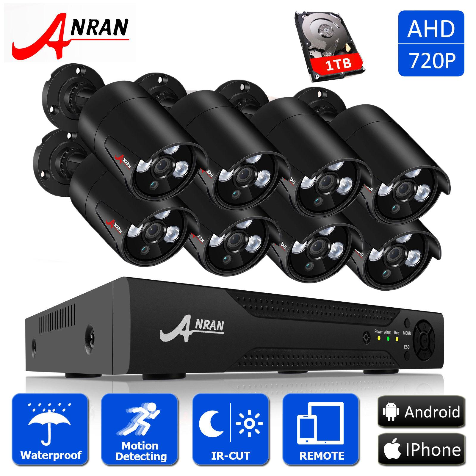 Retail Anran 8Ch Security Camera System Ahd 1080N Hdmi Dvr 720P 1800Tvl Ir Outdoor Camera Home Video Surveillance Kits
