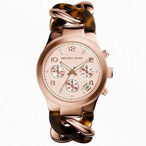 Michael Kors Runway Rose Gold-Tone Tortoise Twist Chain Link 38mm Ladies Watch Mk4269 By Watch Centre.