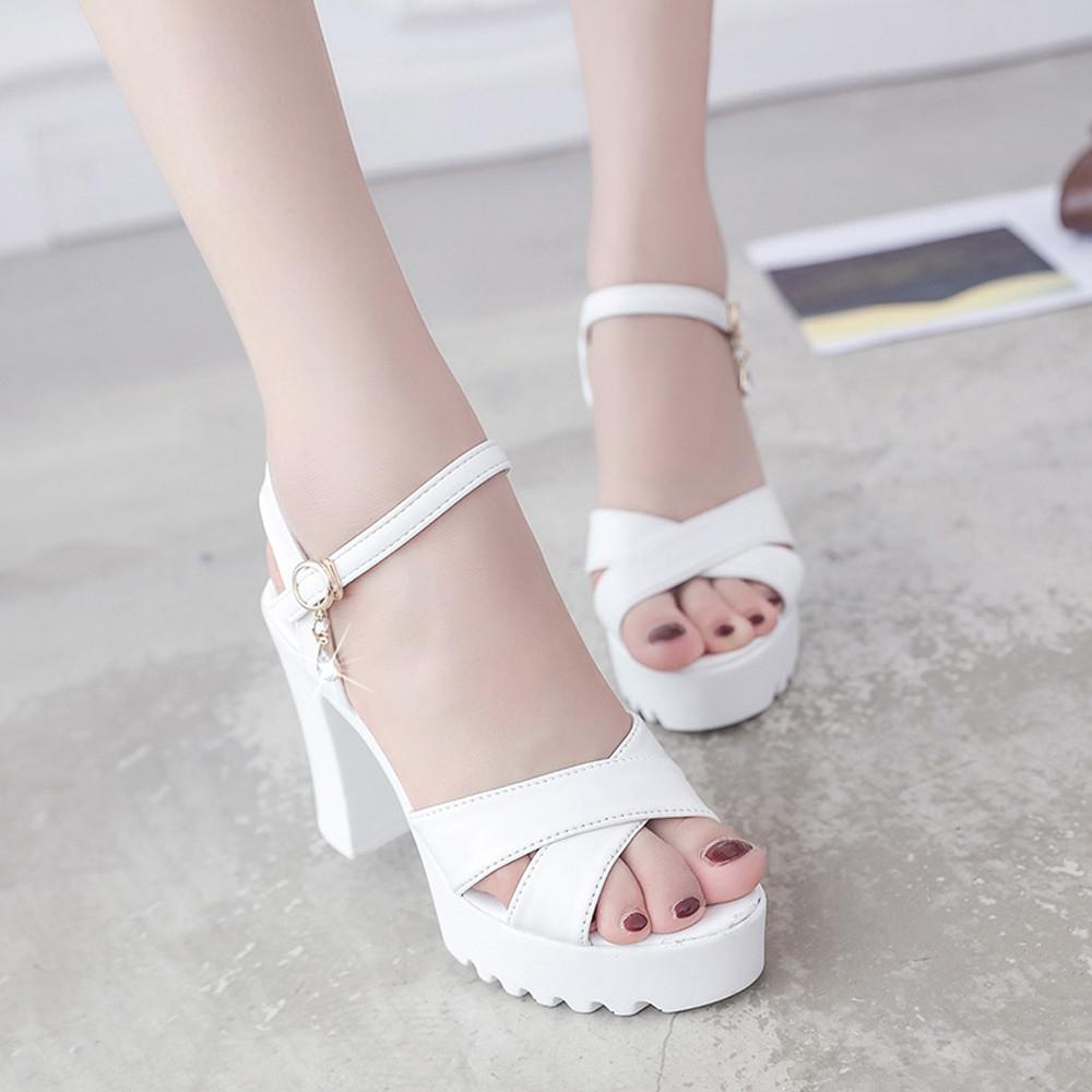 e18aa5ae28c822 nagostore Women Fish Mouth Platform High Heels Wedges Sandals Buckle Slope  Sandals