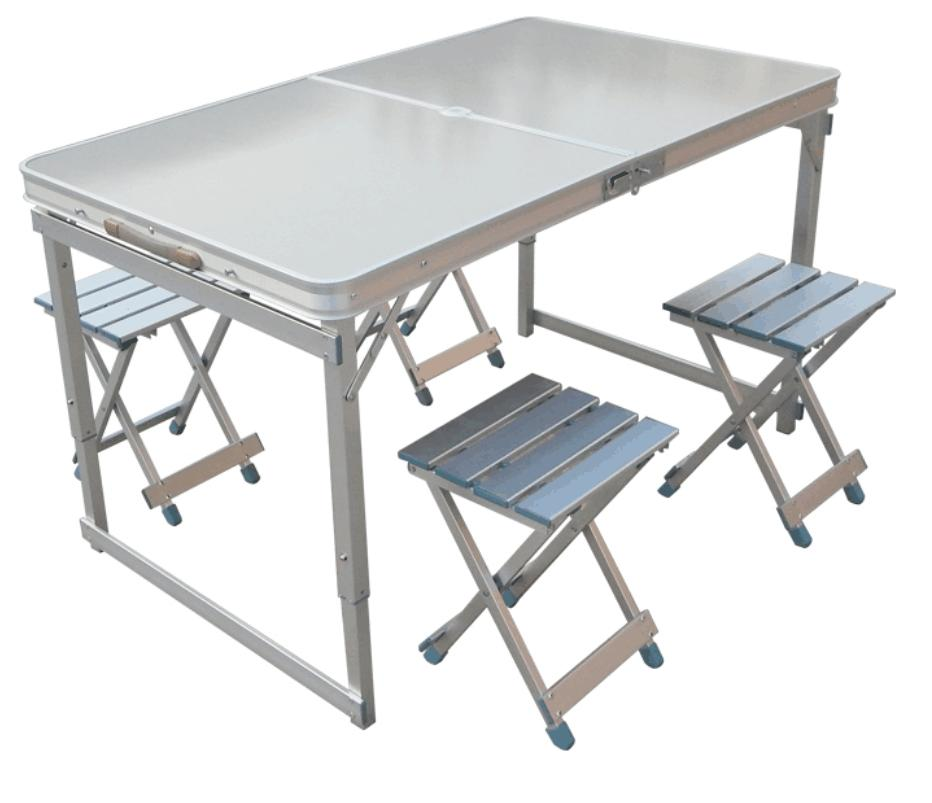 [SG Seller] Outdoor Folding Table Outdoor Table Stall Portable Aluminum Alloy Table Household Table Simple Folding Table--Silver Table +4 Pcs Chairs