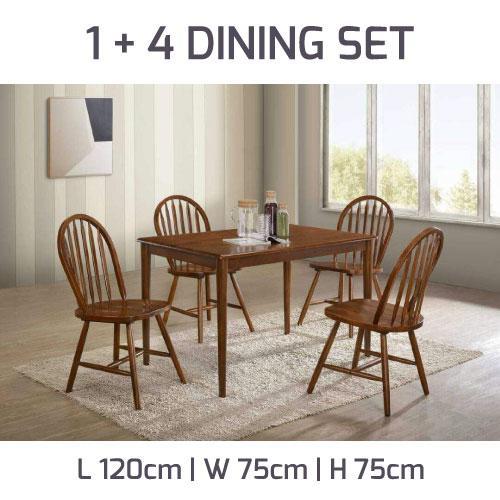 [A-STAR]  (1+4) Dining Set in Dirty Oak