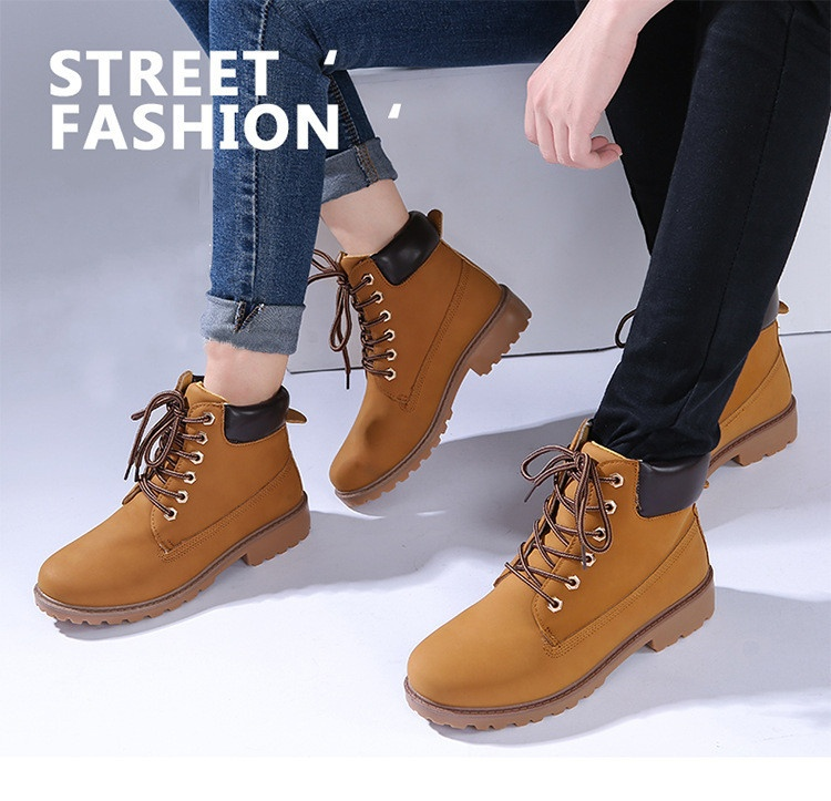 1b01cacc436 New Work Boots Women's Winter Leather Boot Lace up Outdoor Waterproof Snow  Boot Brown -Intl