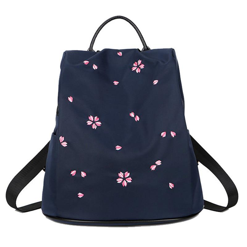 819f79b69b5709 Korean Style Floral Anti Theft Backpack Purse Fashion Women Lightweight  Nylon Bags Lightweight Travel Bag Large