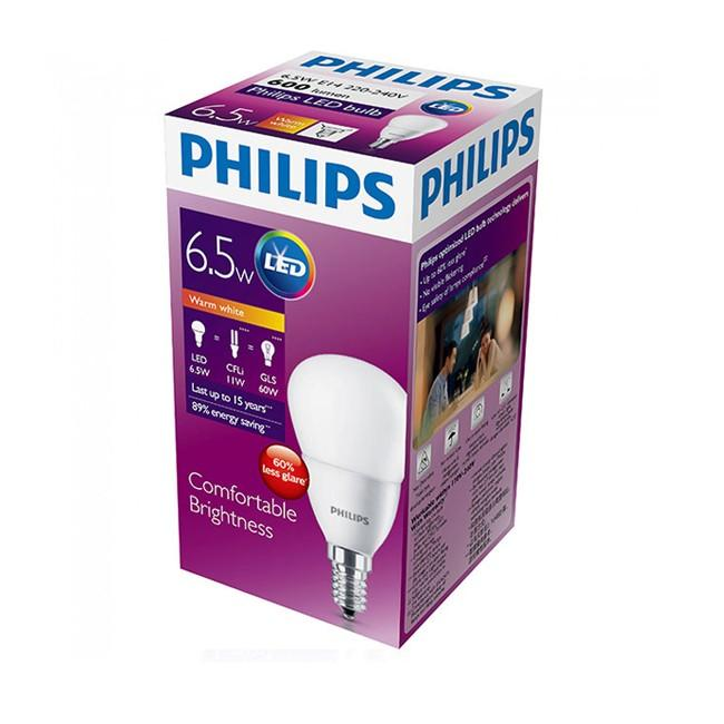 (4 Packs) Philiips LED Bulb E14 6.5W = 11W CFLi = 60W Traditional GLS (Warm White 3000K)