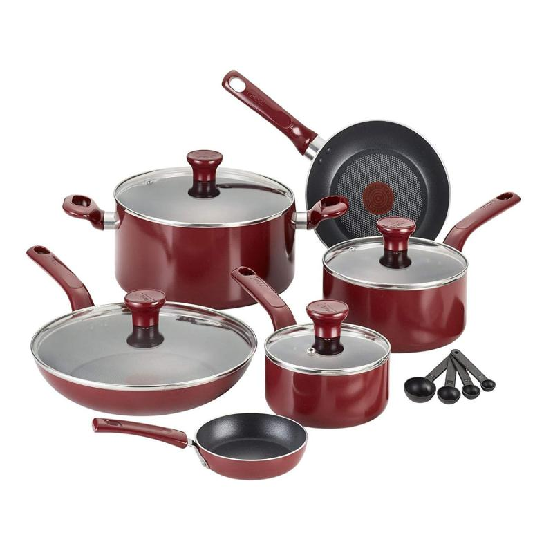 T-fal Excite Nonstick Thermo-Spot Dishwasher Safe Oven Safe PFOA Free Cookware Set, 14-Piece, Red Singapore