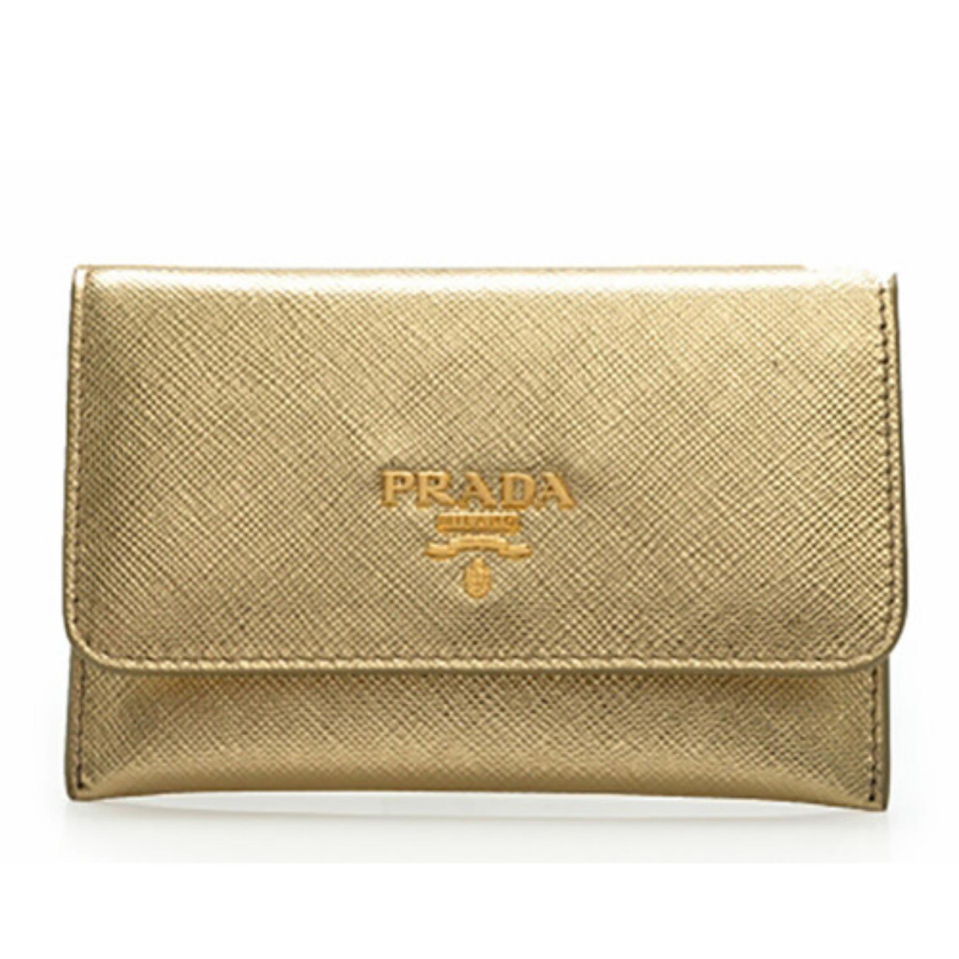 Prada Saffiano Metal Card Holder Wallet (Platino)   1MC362QWAF0522 507846a3f7