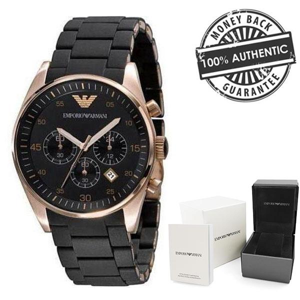 Emporio Armani Ar5905 Black And Gold Mens Quartz Chronograph Watch By Watchessg.