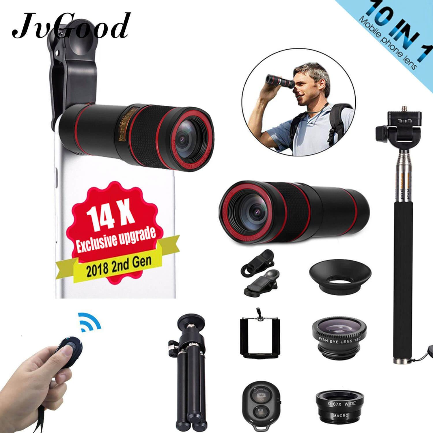 Jvgood Phone Camera Lens Set For Mobile Phone 10 In1 Travel Black Fisheye+wide Angle+macro+14x Telescope Telephoto Lens+mini Tripod+phone Holder By Jvgood.