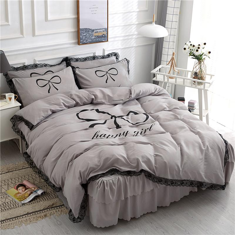 f09688fb3b 2019 New Style Korean Style Pure Cotton Four-piece of Bed Skirt Princess  Style Cute
