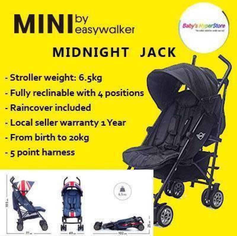 Easywalker Midnight Jack ★ Newborn to 20kg ★ Fully reclinable ★ Raincover included ★ Rear wheel suspension Singapore