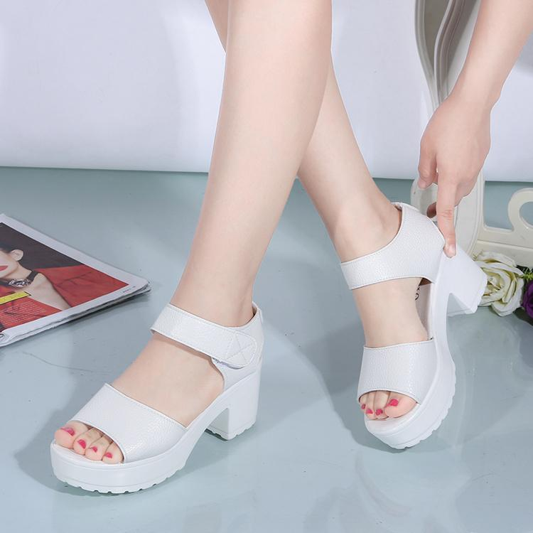 Women Ankle-Strap Chunky Heels Sandals By Taobao Collection.