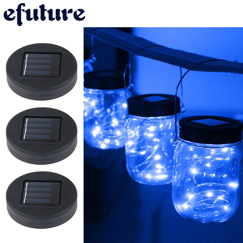 ✨✨efuture Solar Powered Mason Jar Lights,3 Pack Garden Decor Mason Jar Lights 20 LED Solar Powered Fairy Pendant Light,Best For Regular Mouth Mason Jar Decor,Home Decoration Lighting (Jars Not Included) - intl