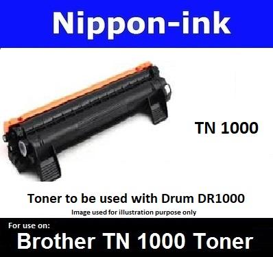 Nippon-Ink - Toner Tn 1000 Cartridge For Brother Laser Printer - Hl-1110 And Hl-1210w, Dcp Series: Dcp-1510 And Dcp-1610w, Mfc Series: Mfc-1810 Mfc-1910w Lazer Printers Tn1000 Tn-1000 By Nippon-Ink Pte Ltd.