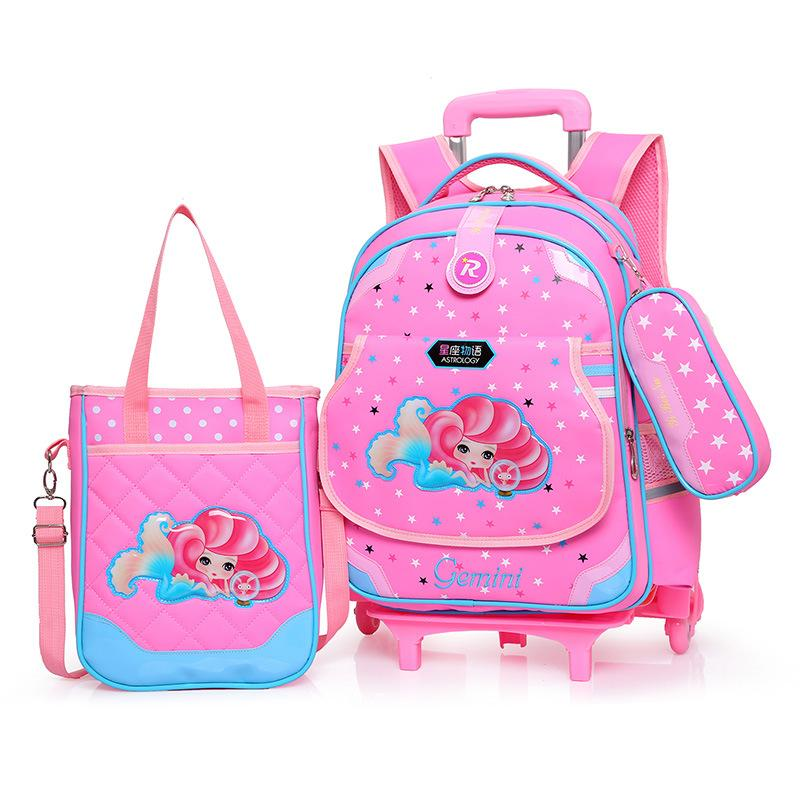 2 PCS Student Trolley School Bag Removable Bag Backpack MWT8