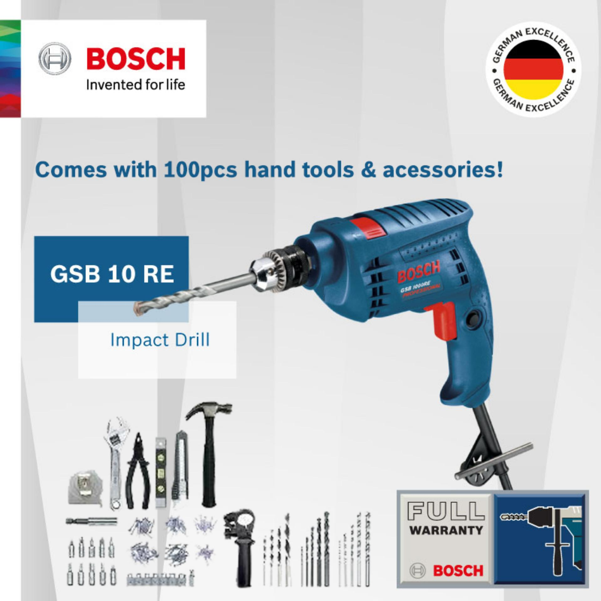 Bosch GSB 10 RE Impact Drill Kit come with 100pcs Hand Tools & Accessories  Singapore