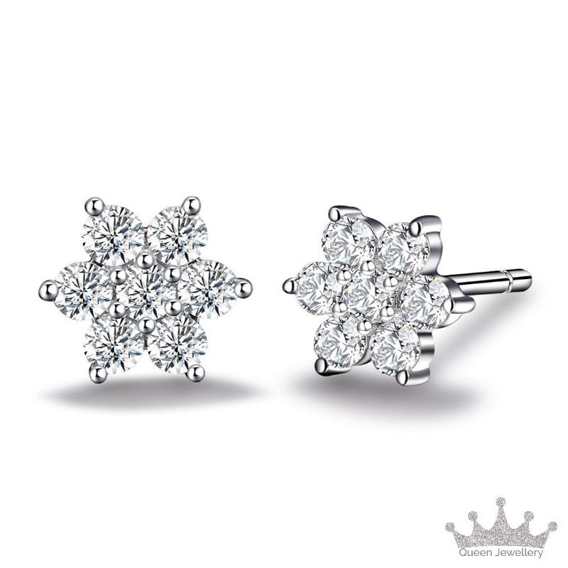 57bfee765 Queen Jewellery - Earrings Ear Stud - 925 Sterling Silver with Cubic  Zirconia - Exquisite jewellery