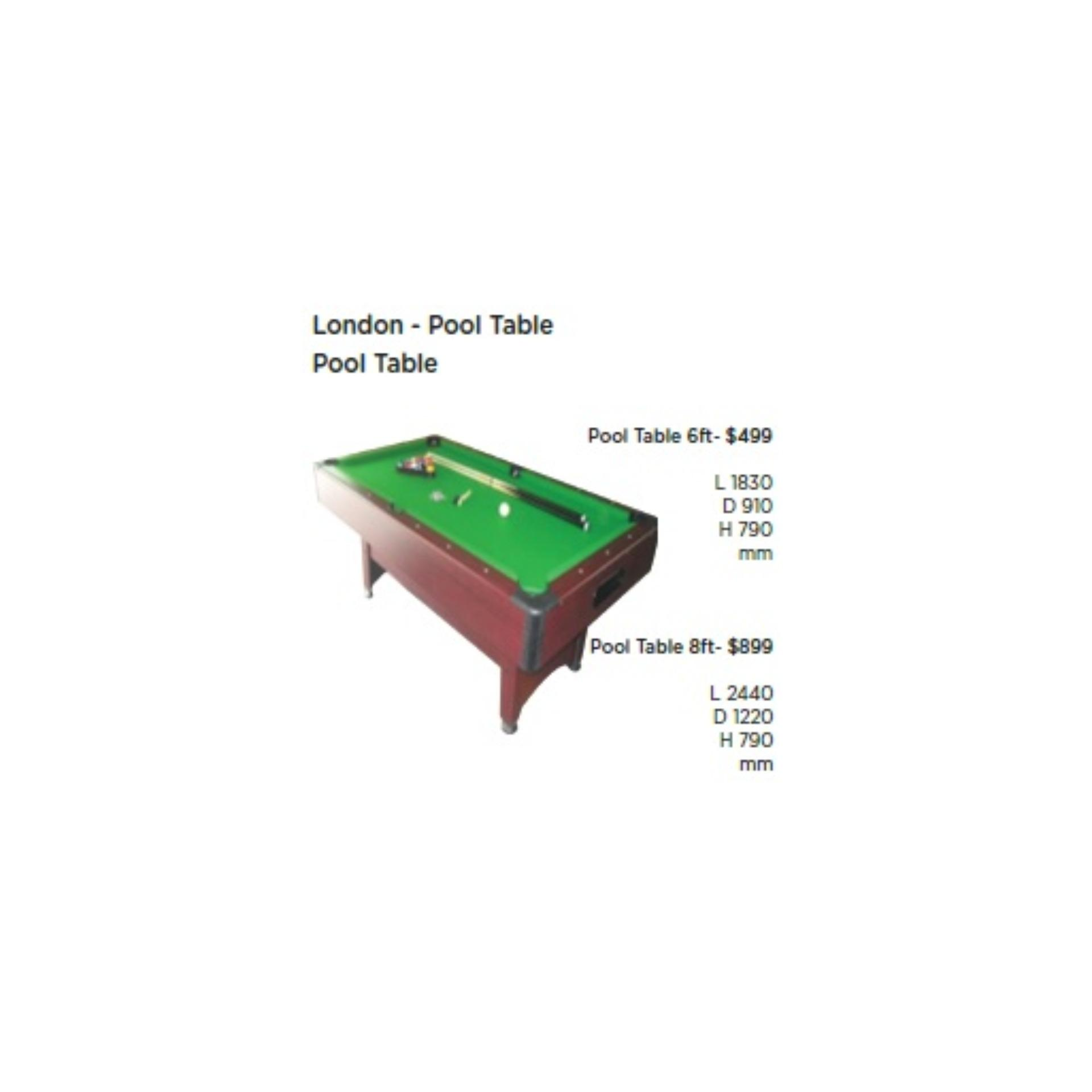 LONDON - POOL TABLE - 6FT