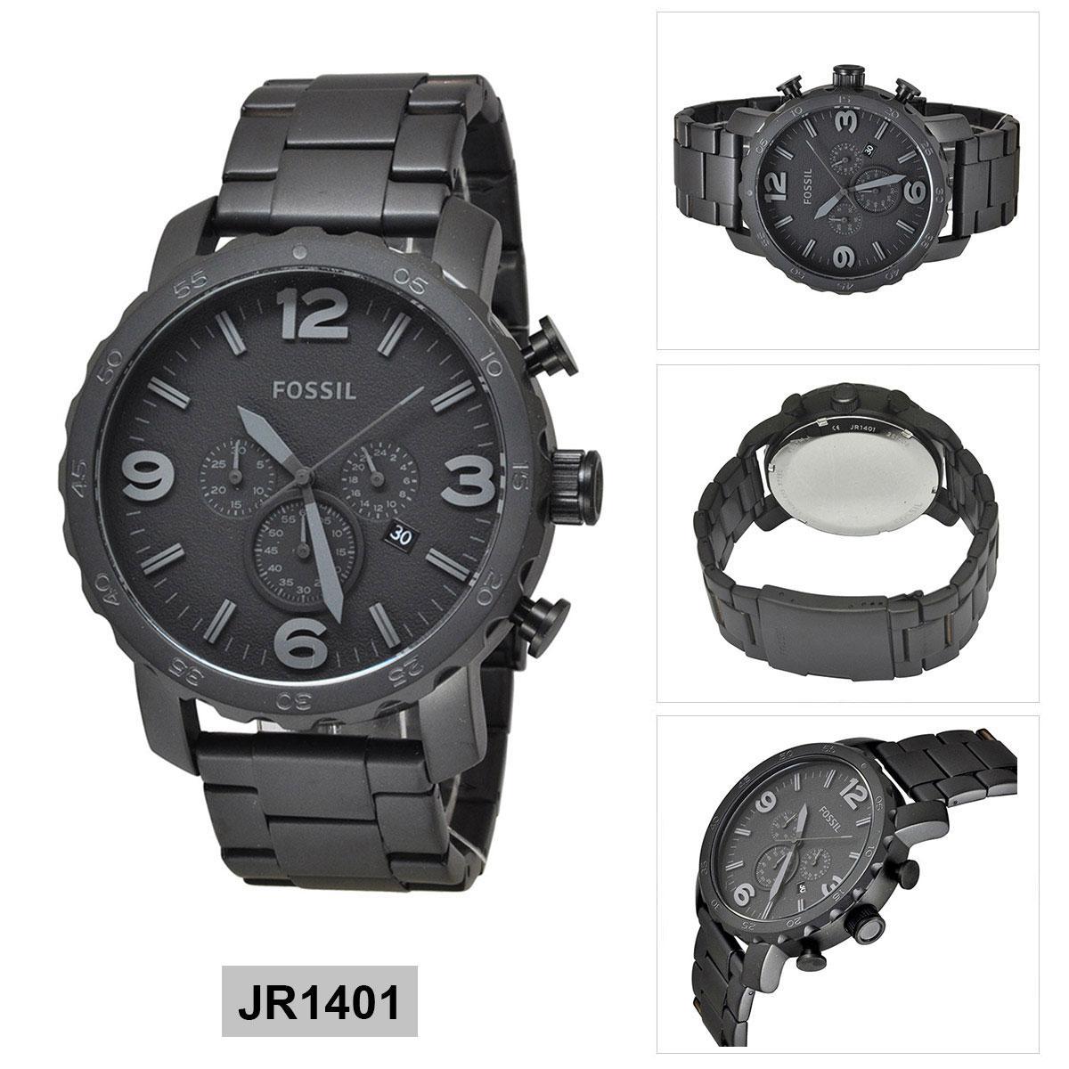 Fossil Nate Chronograph Black Stainless Steel Case Jr1401 Watch Bracelet Mens Lazada Ph