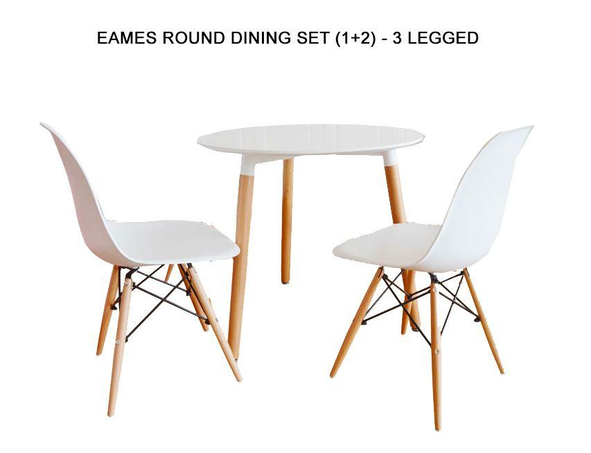 JIJI Eames Round Dining Set (1+2) - 3-Legged (Free Installation) / Furniture / Tables / Kitchen (SG)