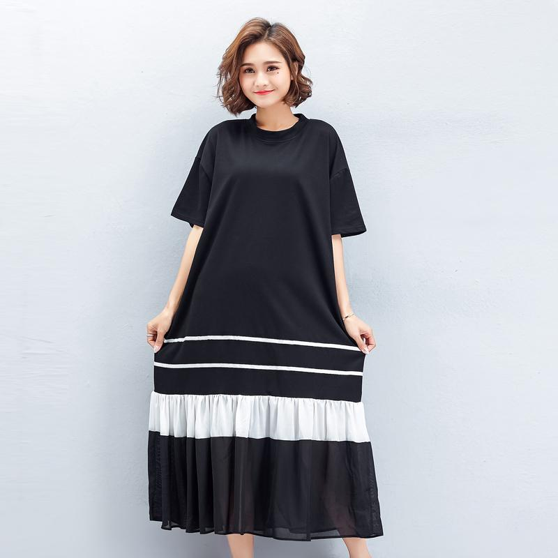 994e89174d2 Foreign Trade Large Size Dress Summer Wear Fat MM2018 New Style 200 Jin  Fishtail Long Skirts Slimming Belly Covering Mixed Colors Dress