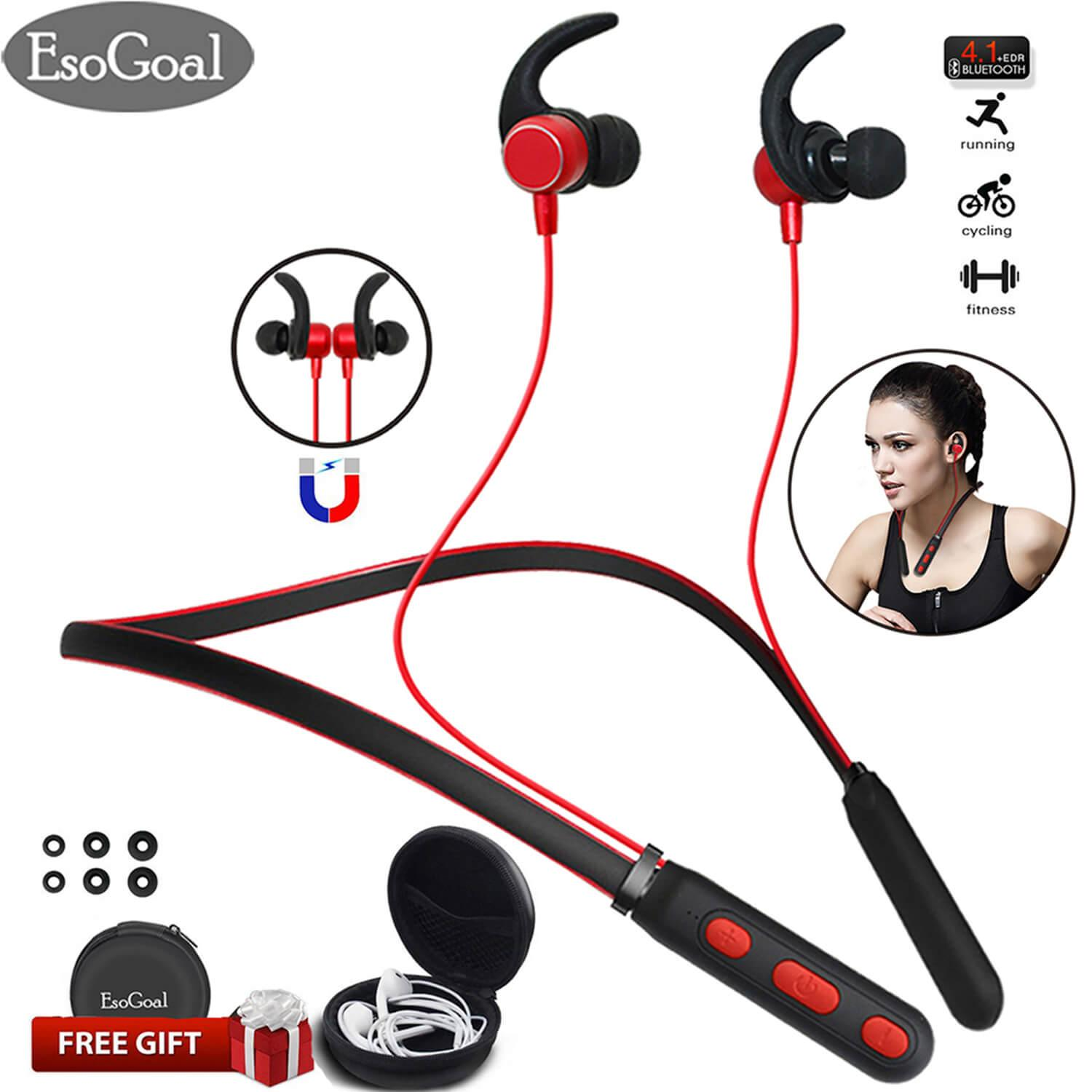 Buy Esogoal In Ear Bluetooth Headphones Wireless Neckband Headset V4 1 Bluetooth Magnetic Stereo Earbuds In Ear With Mic And Carry Case For Sports Gym And Travel Esogoal Original