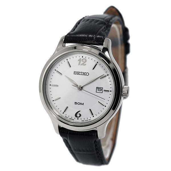 Seiko White Dial Black Leather Quartz SUR791P1 SUR791P SUR791 Ladies Watch