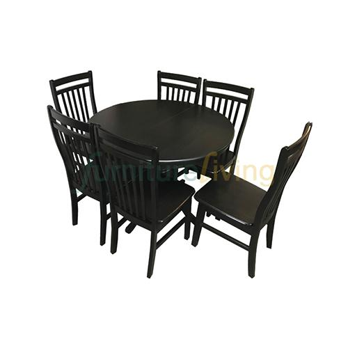 Furniture Living 1+6 Extendable Wooden Dining Set (Cherry)
