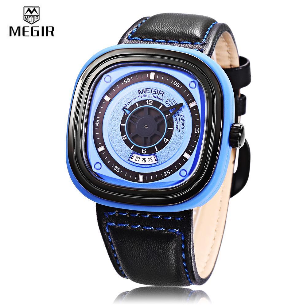 Compare Price Megir Ml2027 Male Quartz Watch Square Case Calendar Men Wristwatch Intl On Singapore