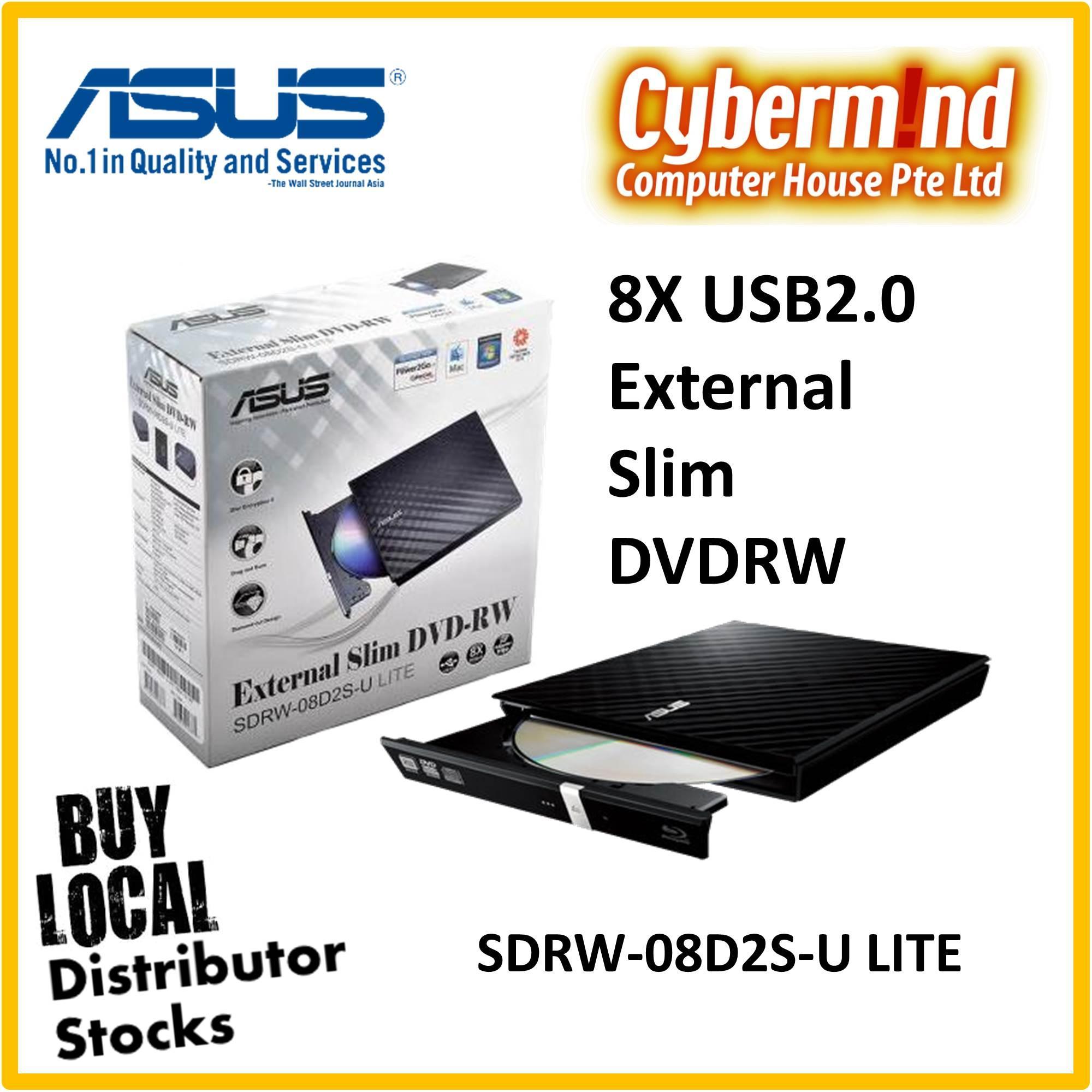 Asus 8x Usb2.0 External Slim Dvdr-W / Dvdrw (sdrw-08d2s-U Lite) Windows & Mac Compatible By Cybermind.