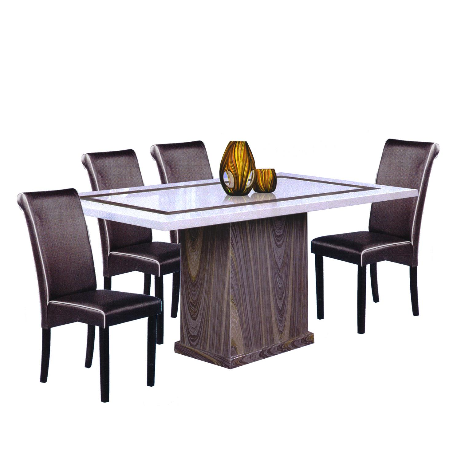 Yannic / Barry Marble Top 1+6 Dining Set By Living Mall