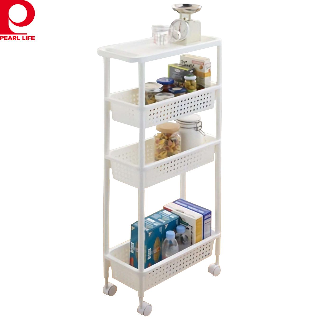 [Japan] 4 Tier Cart Storage Rack Slim Type  / kitchen multi-function shelf movable with wheels space saving white / Made in Japan