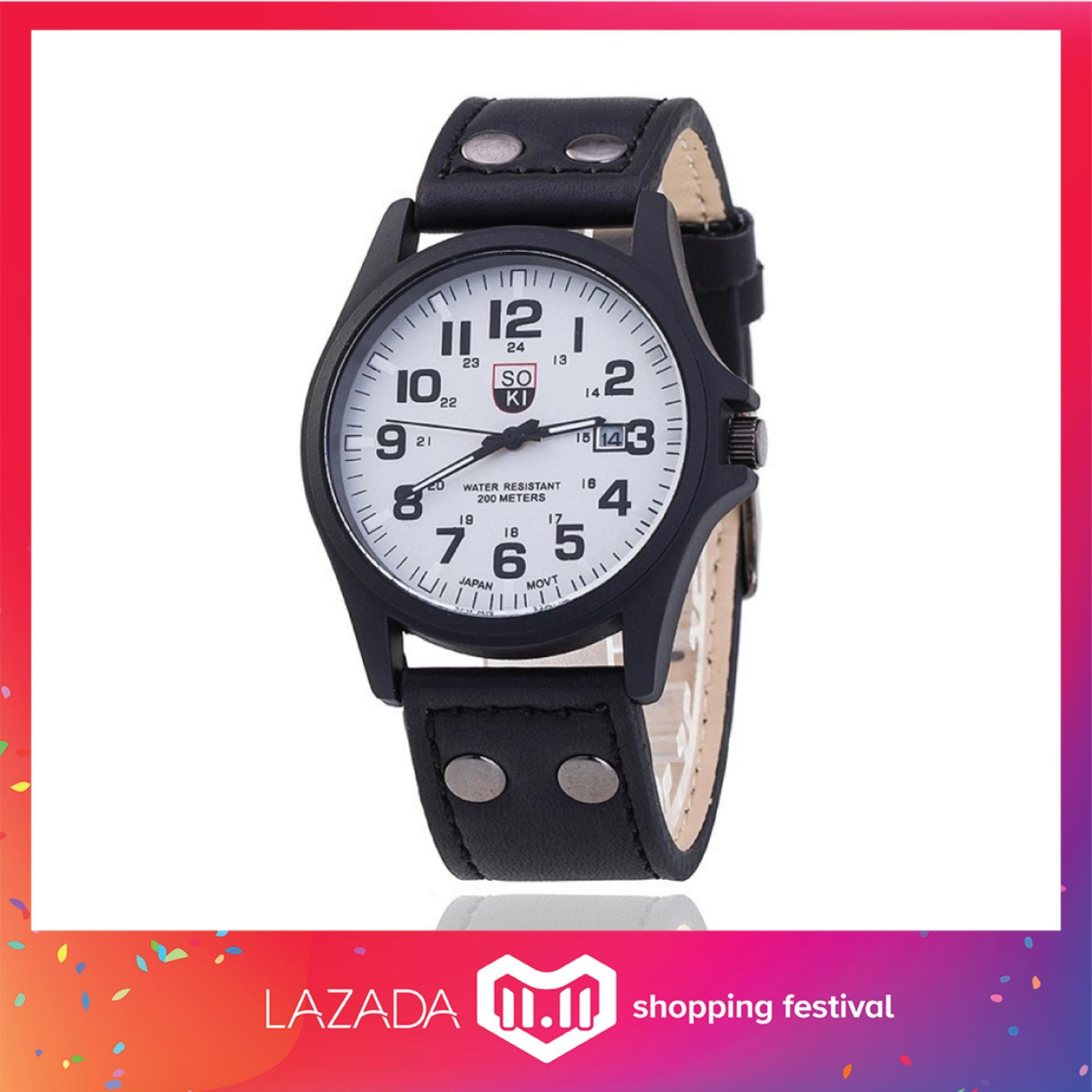 Soki Mens Military Style Calendar Aviator Leather Strap Minimalist Date Display Watch